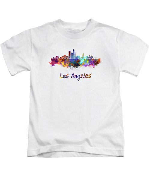 Los Angeles Skyline In Watercolor Kids T-Shirt by Pablo Romero