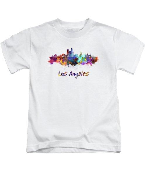 Los Angeles Skyline In Watercolor Kids T-Shirt