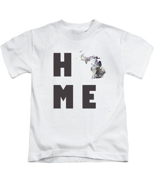 Michigan State Map Kids T-Shirt by Marlene Watson