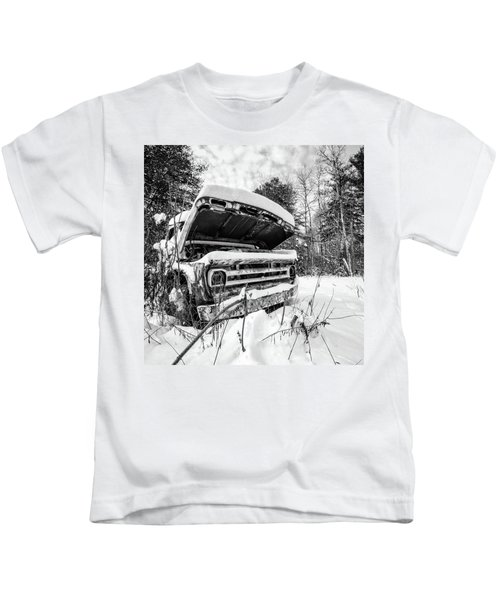 Old Abandoned Pickup Truck In The Snow Kids T-Shirt