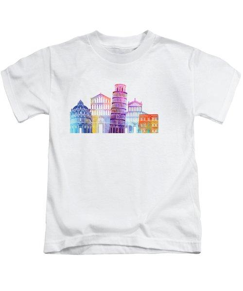 Barcelona Landmarks Watercolor Poster Kids T-Shirt