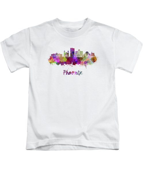 Phoenix Skyline In Watercolor Kids T-Shirt