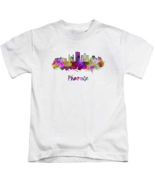 Phoenix Skyline In Watercolor Kids T-Shirt