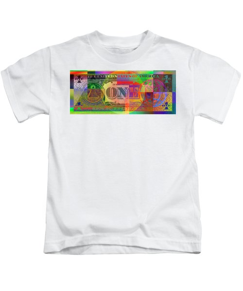 Pop-art Colorized One U. S. Dollar Bill Reverse Kids T-Shirt