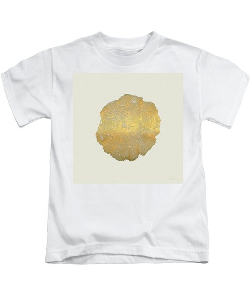 Rings Of A Tree Trunk Cross-section In Gold On Linen  Kids T-Shirt