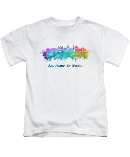 Salvador De Bahia  Skyline In Watercolor Kids T-Shirt