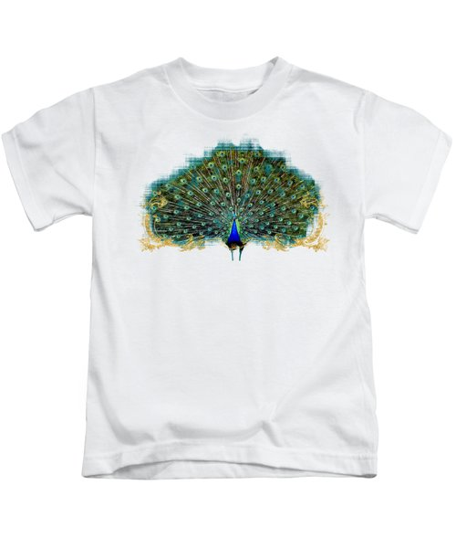 Scroll Swirl Art Deco Nouveau Peacock W Tail Feathers Spread Kids T-Shirt by Audrey Jeanne Roberts