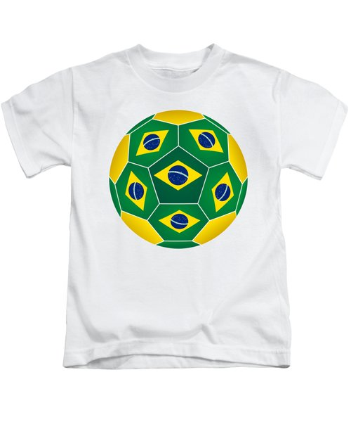 Soccer Ball With Brazilian Flag Kids T-Shirt