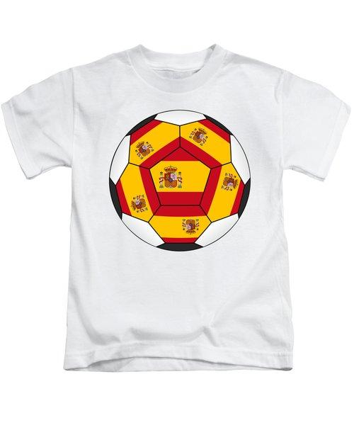 Soccer Ball With Spanish Flag Kids T-Shirt