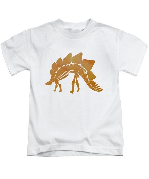 Stegosaurus Skeleton Kids T-Shirt by Mordax Furittus