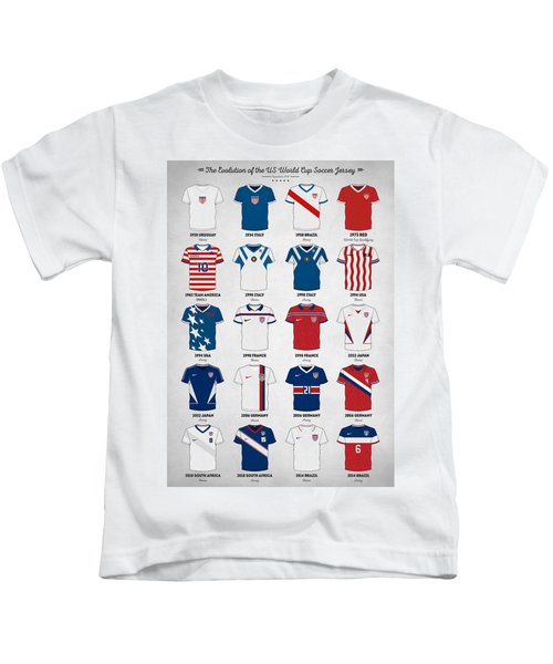 The Evolution Of The Us World Cup Soccer Jersey Kids T-Shirt by Taylan Apukovska