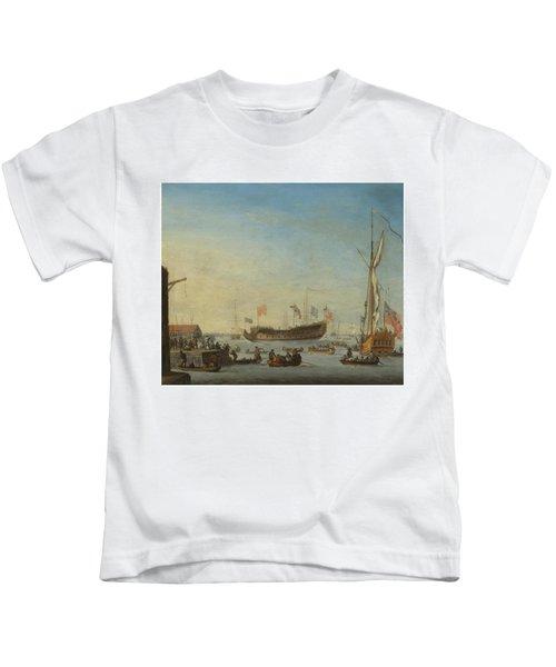 The Launch Of A Man Of War Kids T-Shirt by Robert Woodcock