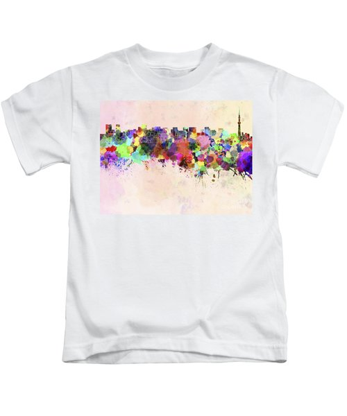 Tokyo Skyline In Watercolor Background Kids T-Shirt by Pablo Romero