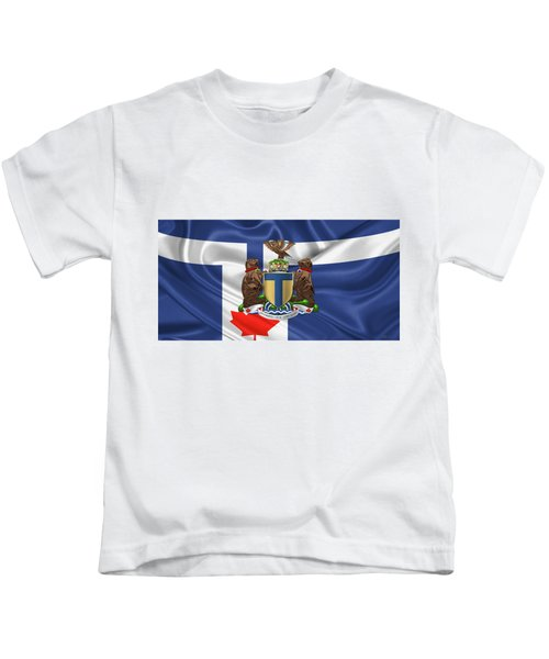 Toronto - Coat Of Arms Over City Of Toronto Flag  Kids T-Shirt
