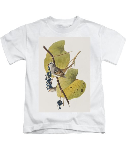 White-crowned Sparrow Kids T-Shirt by John James Audubon