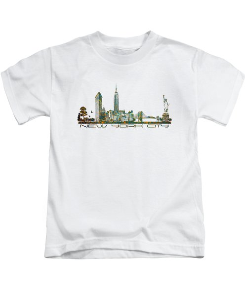 New York City Skyline Kids T-Shirt by Justyna JBJart