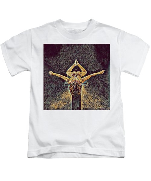 1038s-zac Dancer Flying On Pedestal Nudes In The Style Of Antonio Bravo  Kids T-Shirt