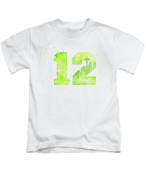 12th Man Seahawks Art Go Hawks Kids T-Shirt by Olga Shvartsur