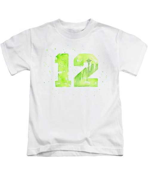 12th Man Seahawks Art Go Hawks Kids T-Shirt
