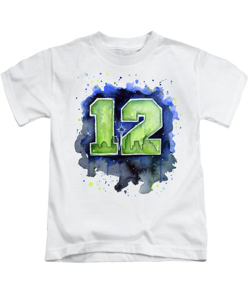 12th Man Seahawks Art Seattle Go Hawks Kids T-Shirt by Olga Shvartsur