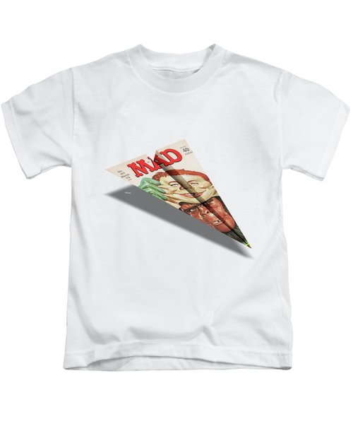 157 Mad Paper Airplane Kids T-Shirt by YoPedro