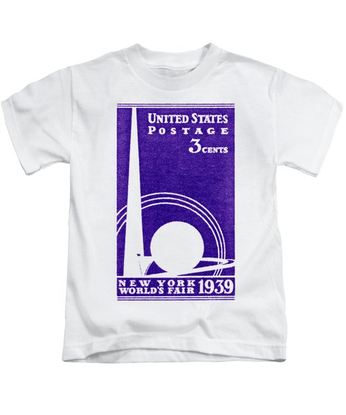 1939 New York Worlds Fair Stamp Kids T-Shirt
