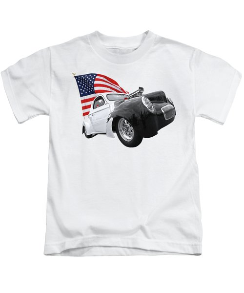 1941 Willys Coupe With Us Flag Kids T-Shirt