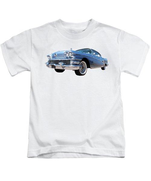 1958 Buick Roadmaster 75 In A Blue Mood Kids T-Shirt