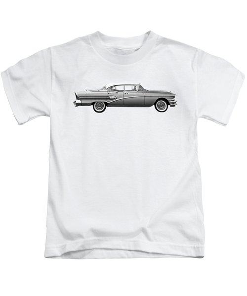 1958 Buick Roadmaster 75 In Black And White Kids T-Shirt