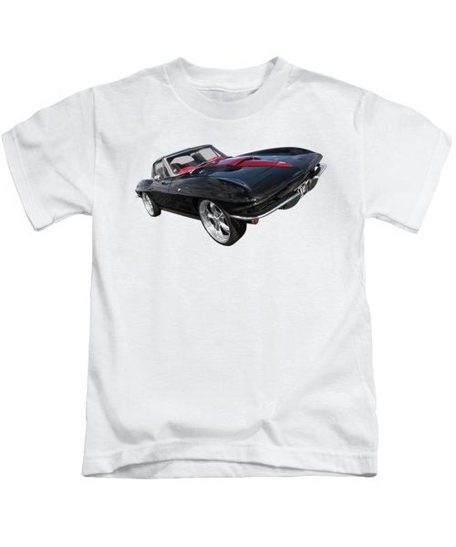 1963 Corvette Stingray Split Window In Black And Red Kids T-Shirt