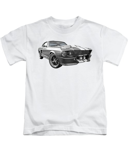 1967 Eleanor Mustang In Black And White Kids T-Shirt