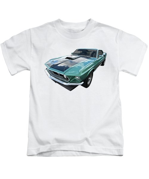 1969 Green 428 Mach 1 Cobra Jet Ford Mustang Kids T-Shirt by Gill Billington