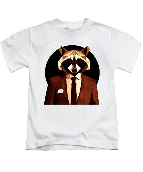 Abstract Geometric Raccoon Kids T-Shirt