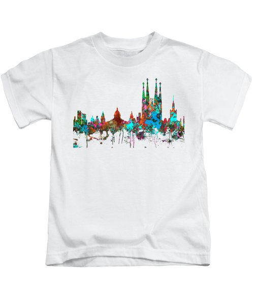 Barcelona Spain Skyline Kids T-Shirt by Marlene Watson