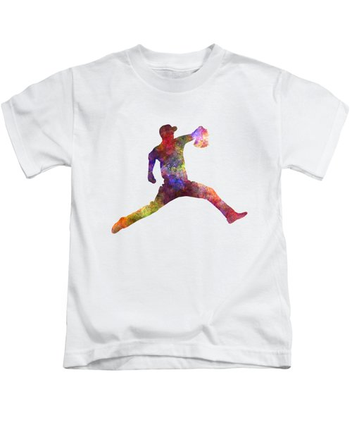 Baseball Player Throwing A Ball Kids T-Shirt by Pablo Romero