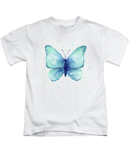 Blue Butterfly Watercolor Kids T-Shirt