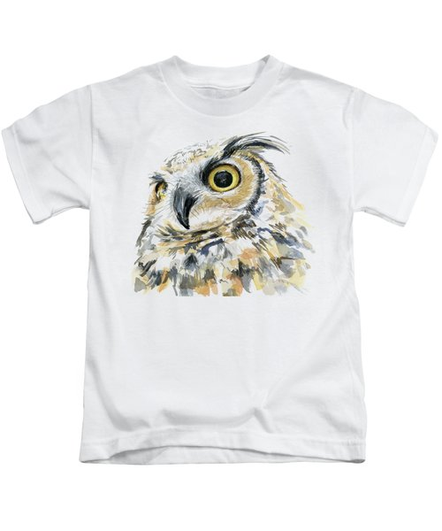 Great Horned Owl Watercolor Kids T-Shirt