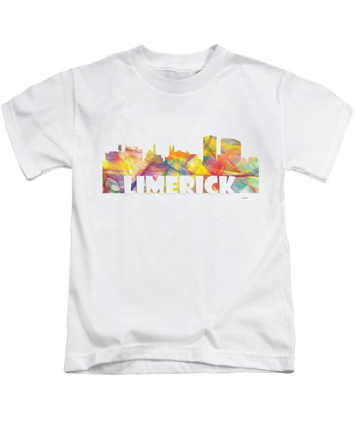 Limerick Ireland Skyline Kids T-Shirt by Marlene Watson