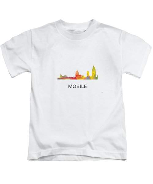 Mobile Alabama Skyline Kids T-Shirt by Marlene Watson