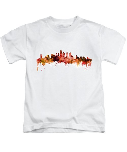 Philadelphia Pennsylvania Skyline Kids T-Shirt by Michael Tompsett