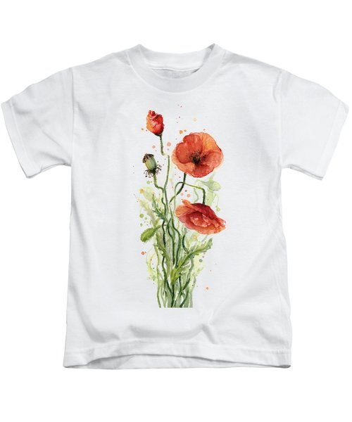 Red Poppies Watercolor Kids T-Shirt