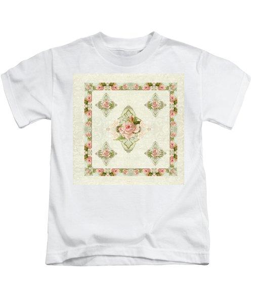 Summer At The Cottage - Vintage Style Damask Roses Kids T-Shirt