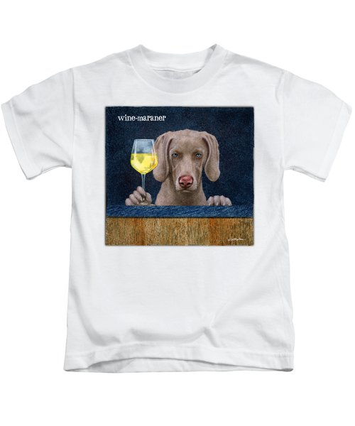 Wine-maraner Kids T-Shirt by Will Bullas