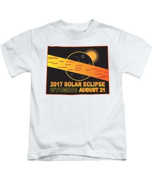 2017 Solar Eclipse Across Wyoming Cities Map Illustration Kids T-Shirt