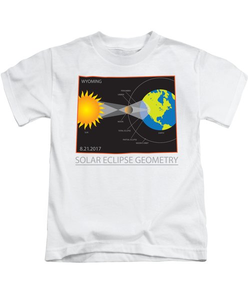 2017 Solar Eclipse Geometry Wyoming State Map Illustration Kids T-Shirt