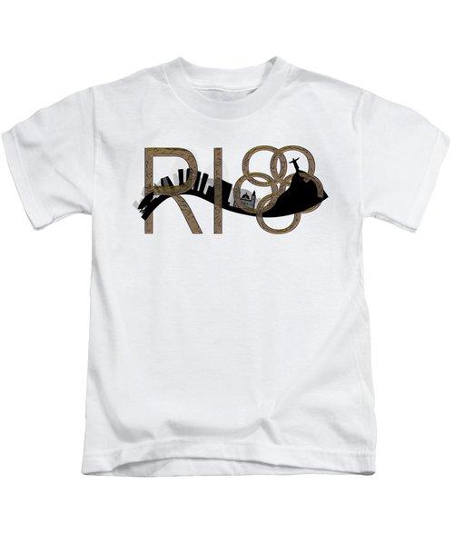 Abstract Rio De Janeiro Skyline Kids T-Shirt