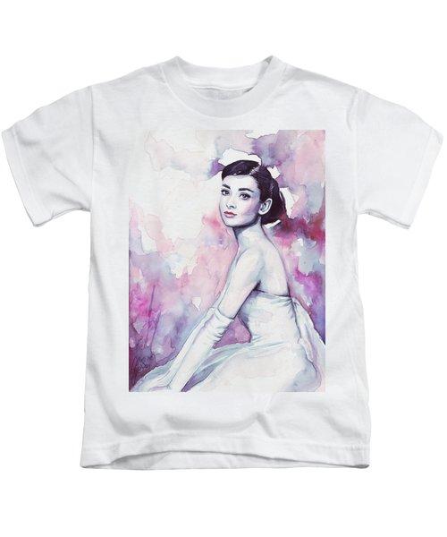 Audrey Hepburn Portrait Kids T-Shirt