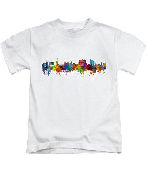 Fayetteville Arkansas Skyline Kids T-Shirt by Michael Tompsett
