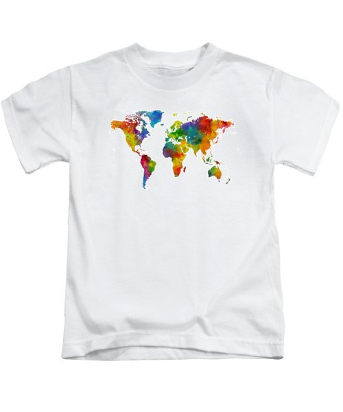 Map Of The World Map Watercolor Kids T-Shirt