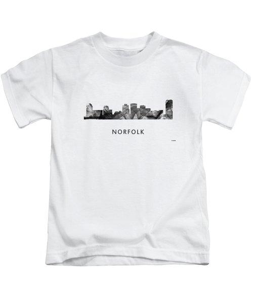 Norfolk Virginia Skyline Kids T-Shirt by Marlene Watson